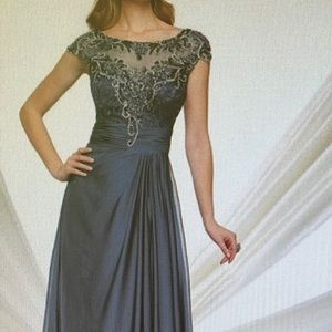 Montage by MonCheri gown illusion and cap sleeves